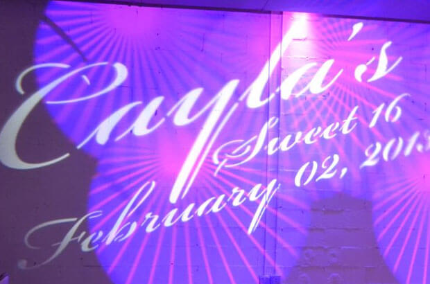 sweet 16 dj nj monogram lighting effects