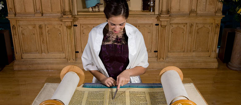 girl reads torah